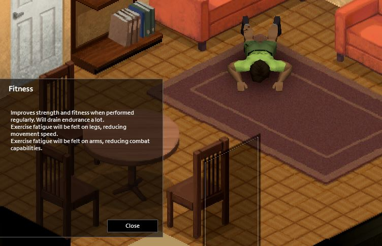 Burpees exercise in-game in Project Zomboid