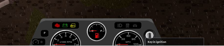 The dash of the car in-game in Project Zomboid