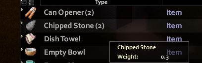 The chipped stone item from Project Zomboid in the player's inventory