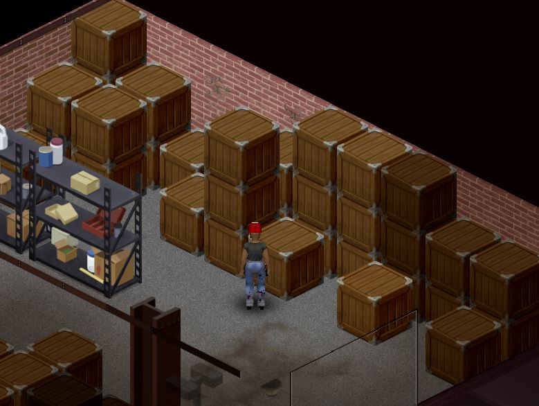 Disassembling crates to find nails in Project Zomboid