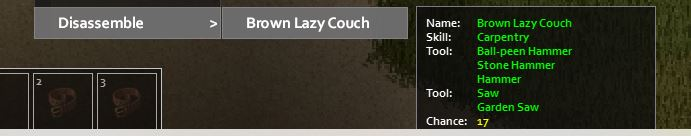 Trying to get nails by disassembling a lazy brown couch in project Zomboid