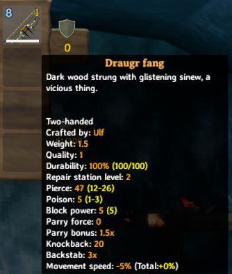 La descripción emergente del mejor arco del juego, Draugr Fang