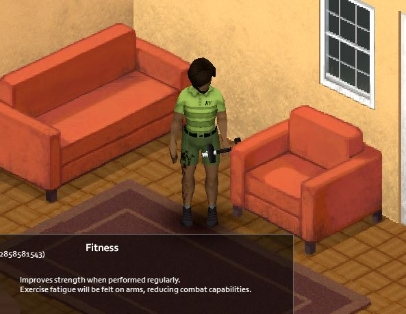 The animation for the dumbbell curl in project zomboid