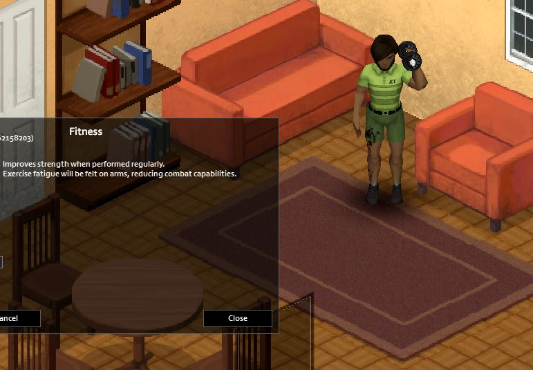 Dumbbell presses in Project zomboid