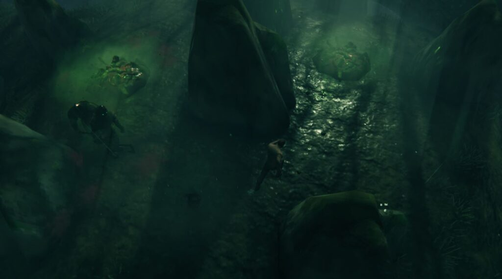 Esperando a que un Draugr de élite engendre en los pantanos de Valheim en una pila de cadáveres