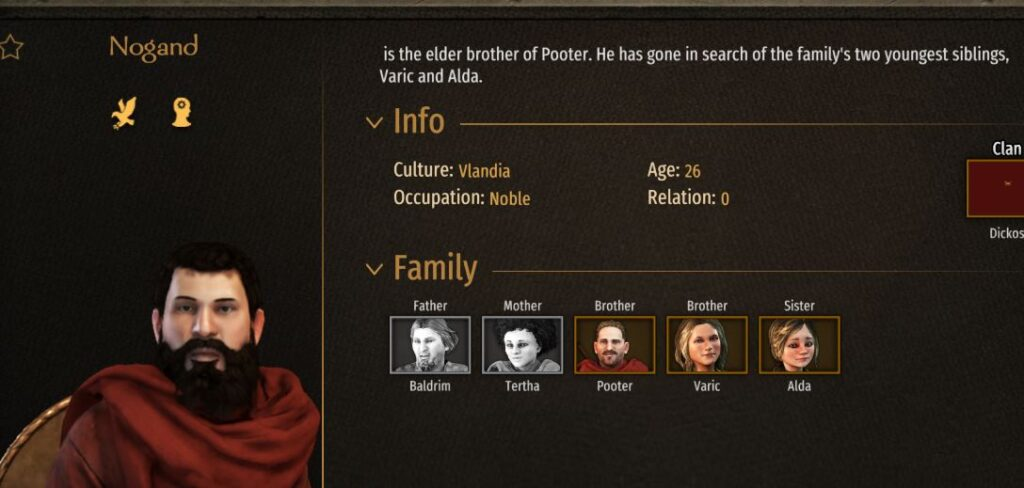 encyclopedia page for family member in Bannerlord