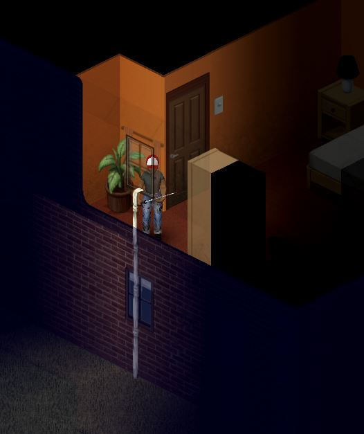 The sheet rope attached to a building in project zomboid