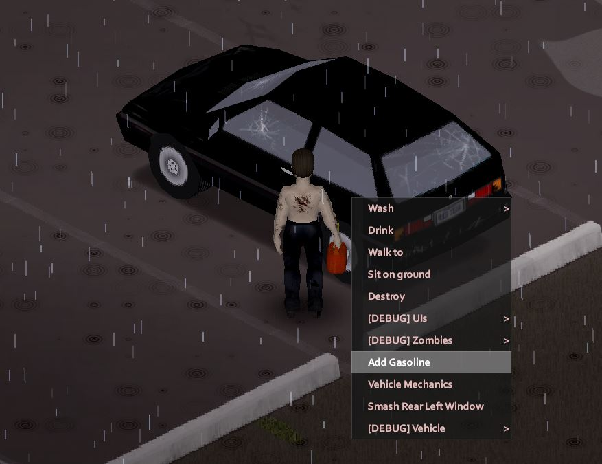 Adding gasoline to vehicle in project zomboid