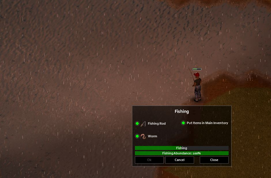 Fishing using worms as bait in Project Zomboid