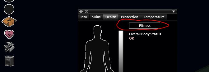 The fitness tab in project zomboid