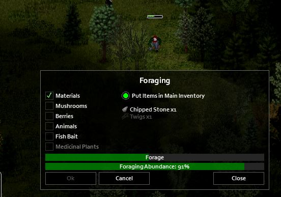 Foraging for chipped stone in Project Zomboid