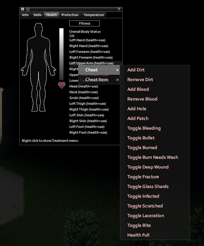 Healing with cheats in Project Zomboid