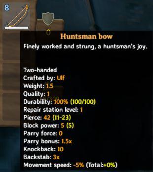 La información sobre herramientas del juego para el arco del cazador