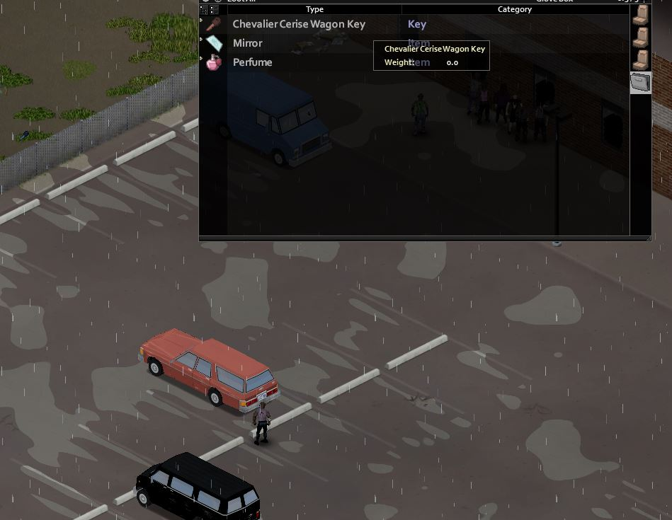 finding car keys in the glove compartment of a car in project zomboid