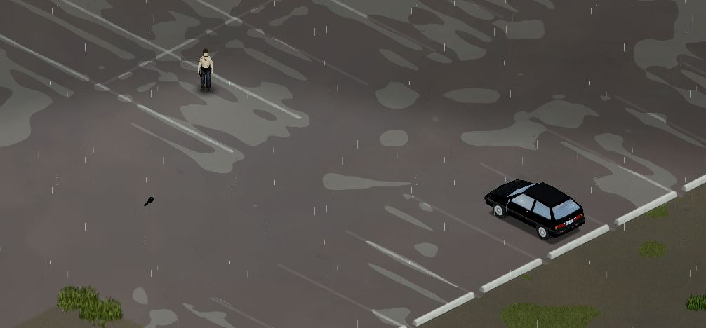 Finding a car key on the ground in Project Zomboid
