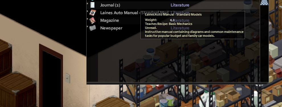 Finding the Laines auto manual in project zomboid to  do advanced mechanics on cars