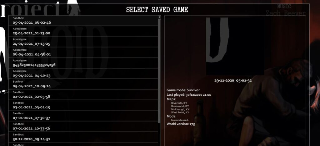 Loading a save game in Project Zomboid