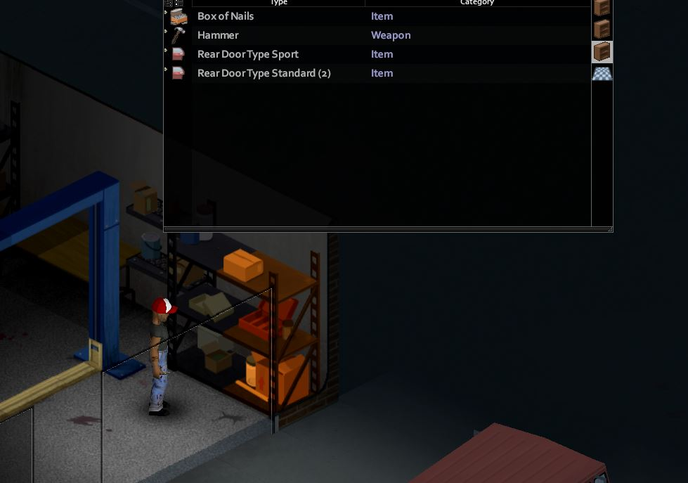 Finding nails on a steel shelf at the mechanic in Project Zomboid