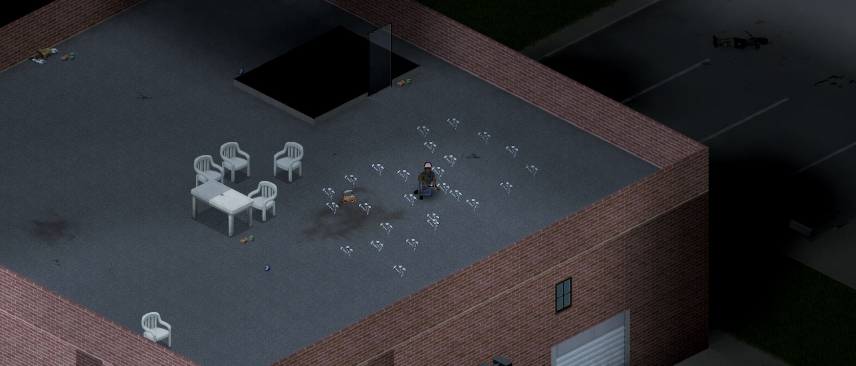 a player in project zomboid sitting on a rooftop surrounded by nails