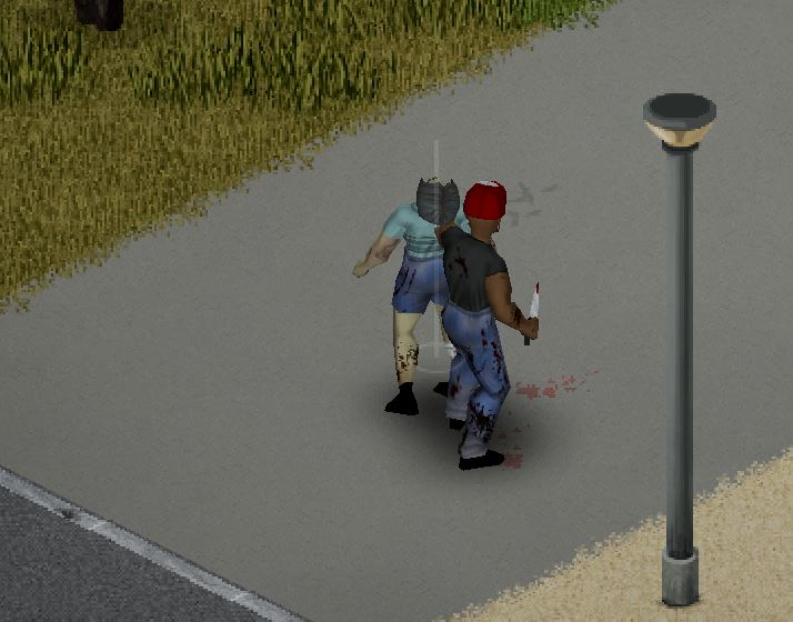 performing a stealth kill in Project zomboid