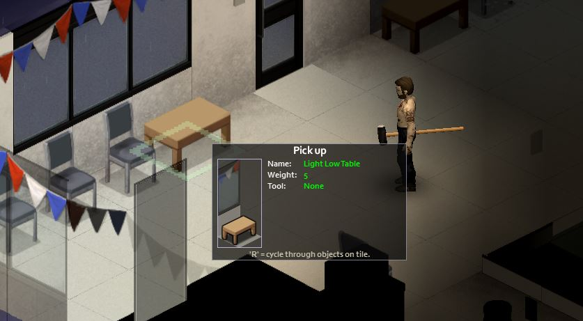 Picking up and moving furniture in project zomboid