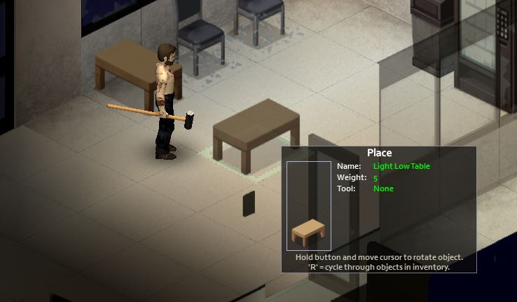 Glaceing table furniture in project Zomboid