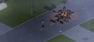 in-game image of a player burning corpses in Project Zomboid