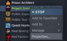 Project zomboid steam properties