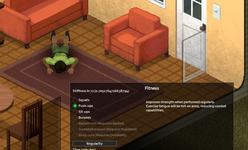 Push-ups exercise in-game in Project Zomboid