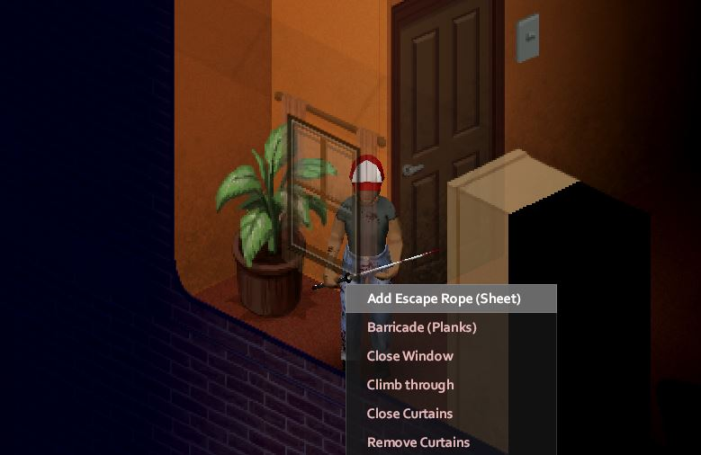 Showing the option to add an escape rope to a window in Project Zomboid