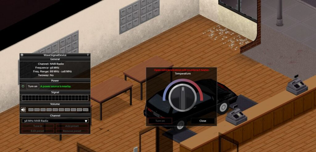 Changing the radio station and heater in Project Zomboid can cause the car battery to go flat