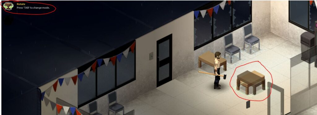 Rotating furniture in Project Zomboid