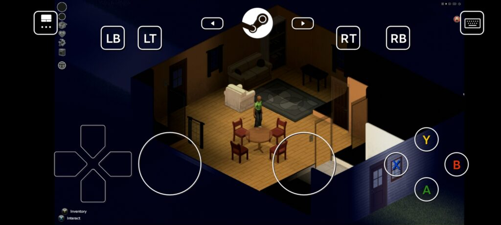 Playing Project Zomboid on android with the controller overlay