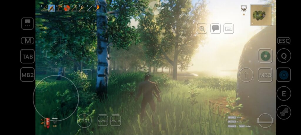A screenshot of Valheim showing the game on Android using touch controls
