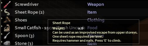 The in-game tooltip for the sheet rope item in project zomboid