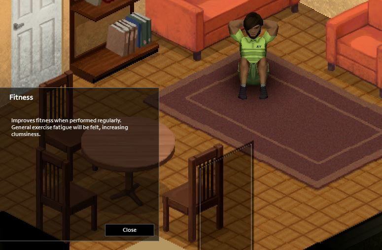 Sit-ups exercise in-game in Project Zomboid