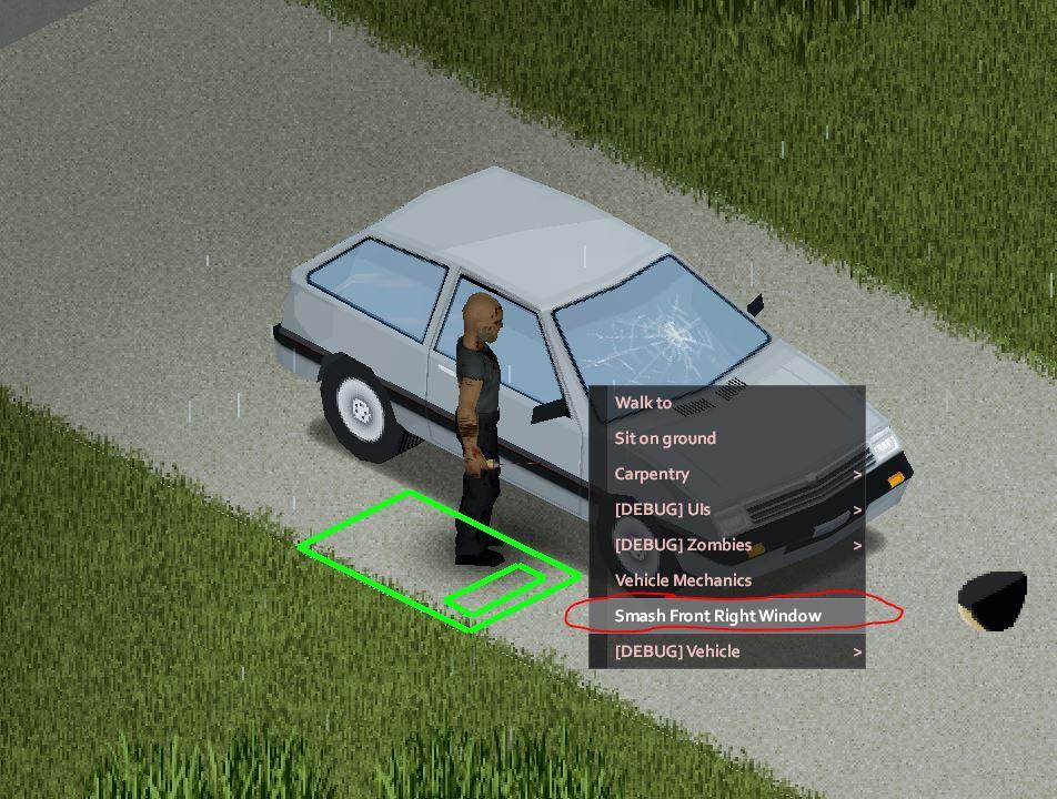 Un personaje irrumpiendo en un coche en Project Zomboid.