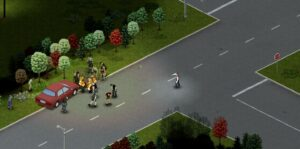 Throwing a molotov at a group of flammable zombies in Project Zomboid