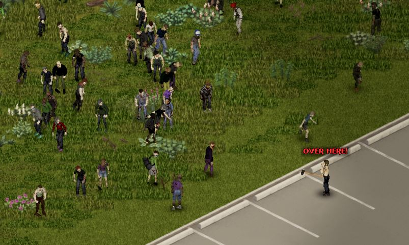 Demonstrating how to shout in Project Zomboid
