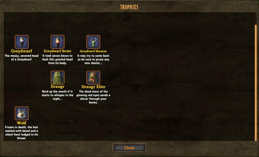 La interfaz de usuario de la colección de trofeos en Valheim