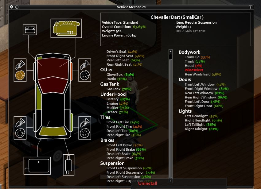 The vehicle mechanics menu in project zomboid