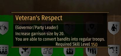 Turning bandits into regular soldiers in Bannerlord with the Veteran's Respect Perk