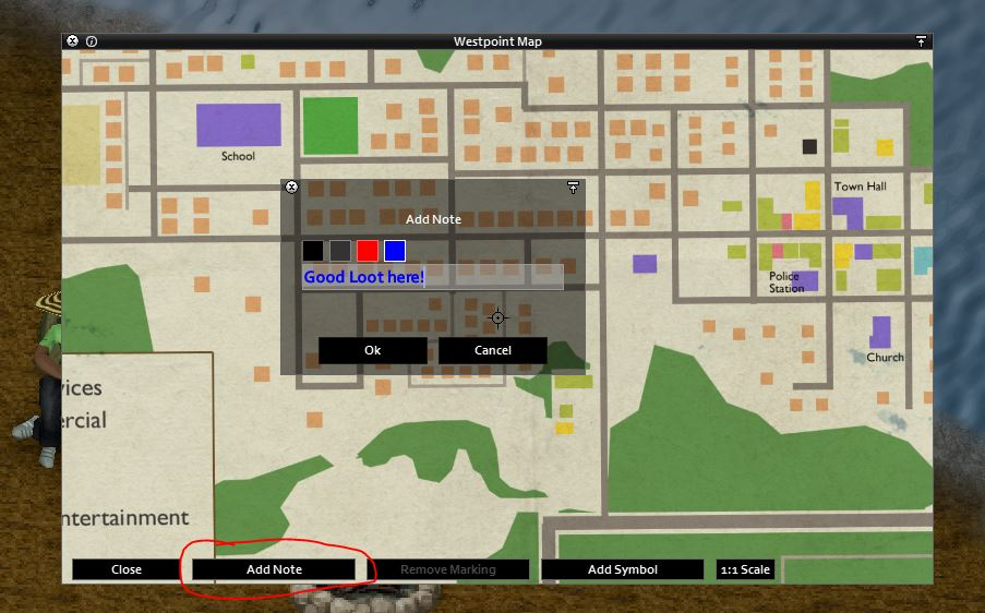 Writing on maps in Project Zomboid