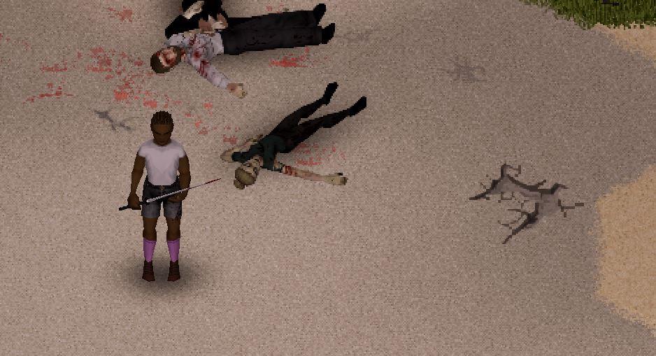 Un personaje en Project Zomboid junto a dos zombies con una katana.