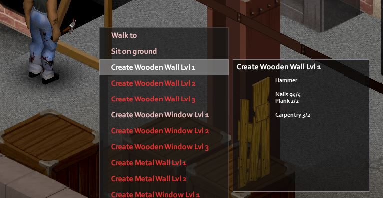 Crafting a wooden wall in project zomboid