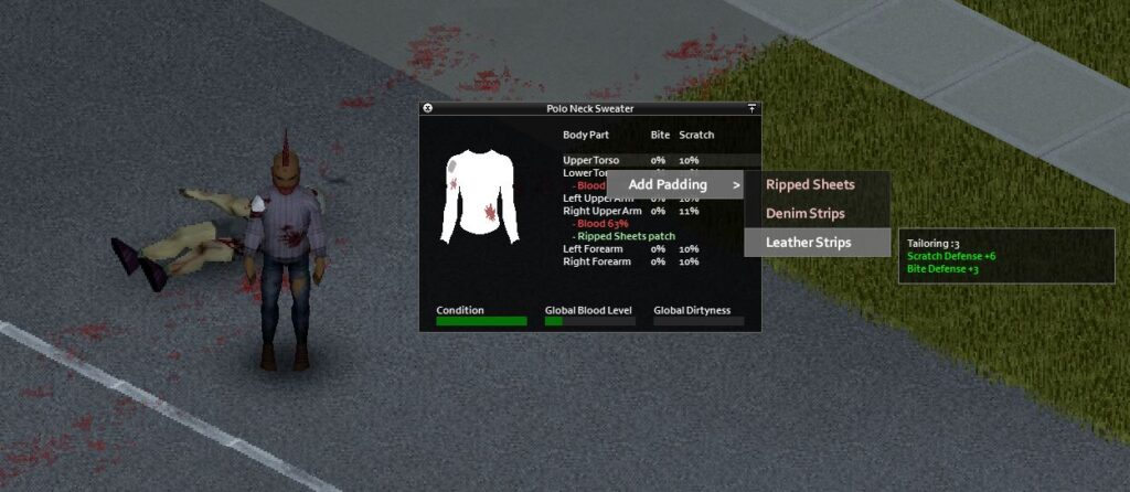 a player adding padding to a sweater in Project Zomboid using leather strips