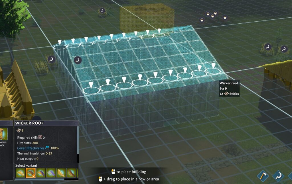 Building the blueprints for a wall and roof in a room