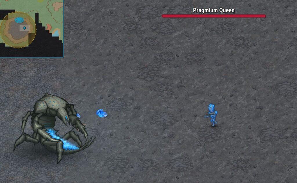 Fighting the pragmium queen using pragmium armor in Cryofall