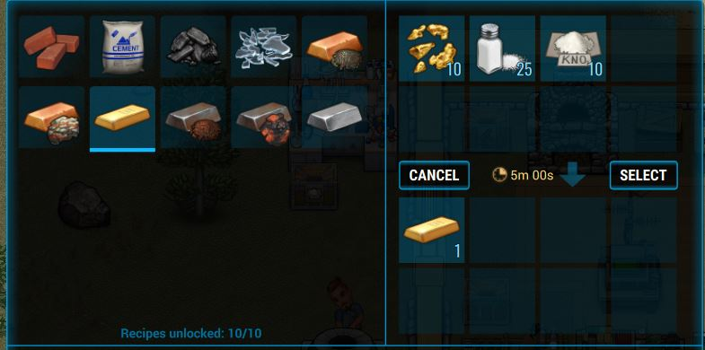 Creating a gold ingot in a forge in Cryofall