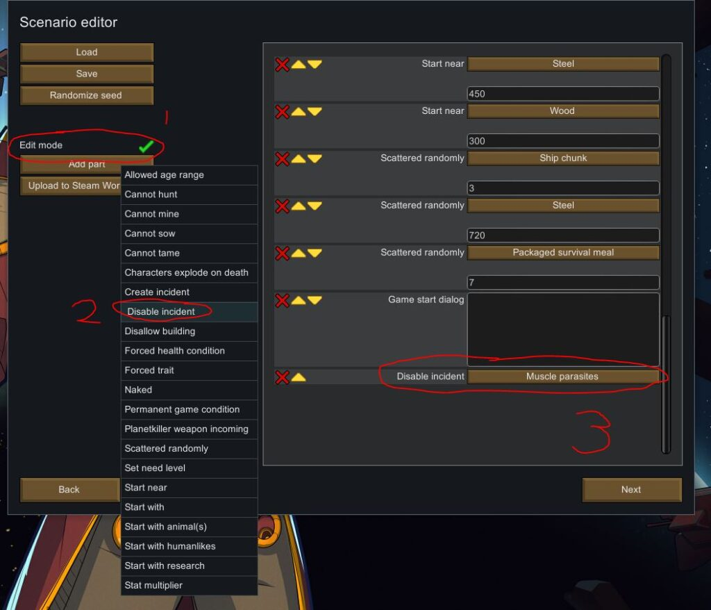 Disabling muscle parasites from your scenario in Rimworld